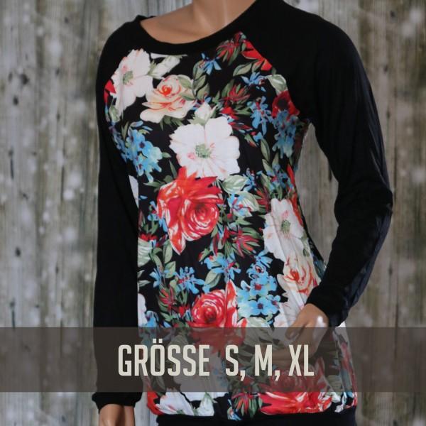Schwarzes Raglan Shirt mit Flowerprint