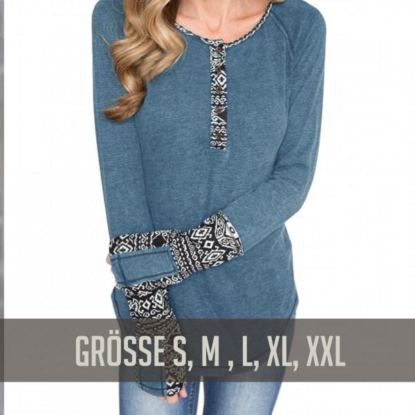 Blaues Langarmshirt mit Details