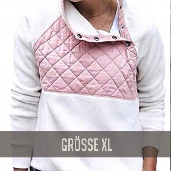 Fleecepully Weiß Rosa XL