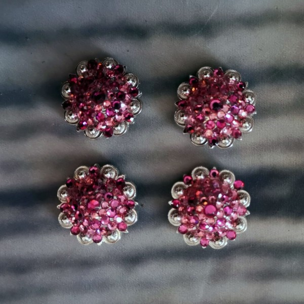"Concho Silber Pink 1"" Strass"
